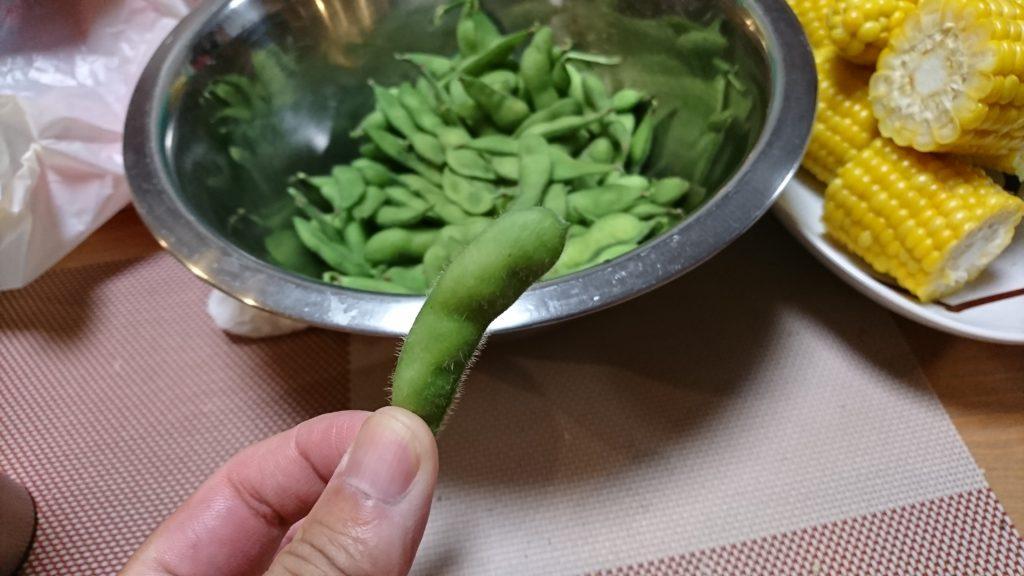 採れたてゆでたての枝豆とトウモロコシ
